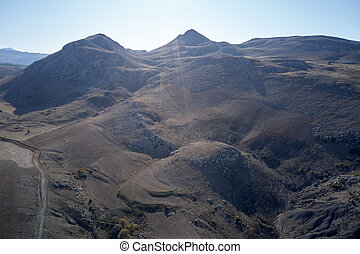 Top view of mountains on a beautiful summer day.
