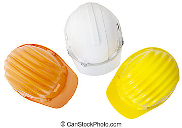 top view of multicolor safetyt, construction ,protection helmet isolated white background