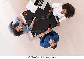 top view of Multiethnic startup business team on meeting