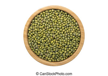 Top view of mung bean in wooden bowl isolated