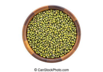 Top view of mung beans in wooden bowl isolated on white background