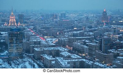 top view of night wintry Moscow, Russia