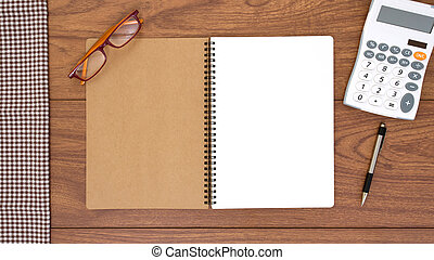 Top view of notebook and office accessories