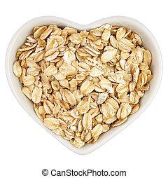 oatmeal in heart shaped plate