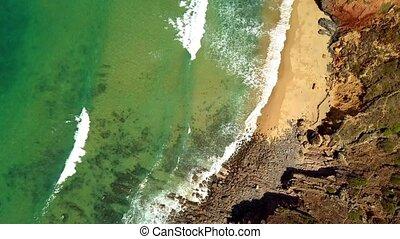 Top view of ocean and coastline