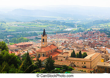 Top view of old Catalan town in Pyrenees