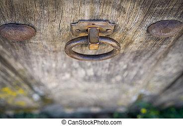 Top view of Old doorknocker and door