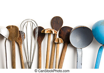 top view of old kitchenware on white background