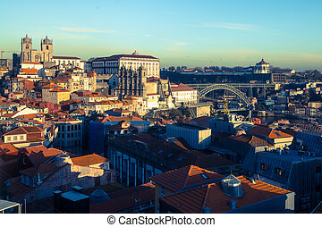 Top view of old Porto downtown, Portugal.