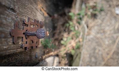 Top view of old rusty vintage door lock