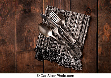Top view of old silver cutlery