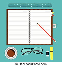 Top view of opened notebook blank with line and red pencil on desk with equipment coffee glasses and office item. Vector illustration flat design.
