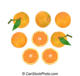 Top view of Orange on white background