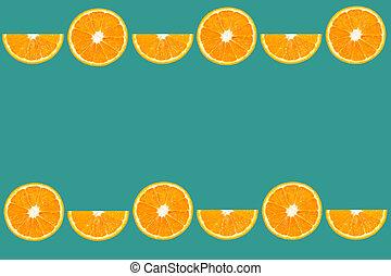 top view of orange slice fruit on color background .