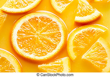 orange slices in juice