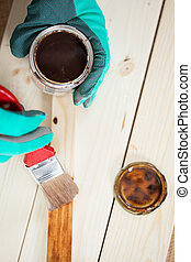 Top view of painting wooden board