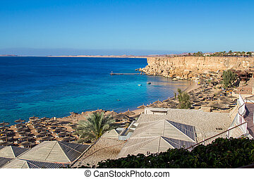 Top View of Paradise Beach on the sharm el sheikh resort