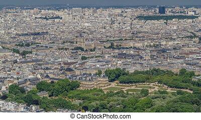 Top view of Paris skyline from observation deck of Montparnasse tower timelapse. Main landmarks of european megapolis. Paris, France