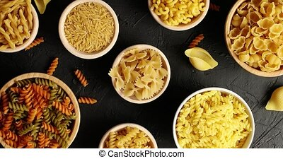 Top view of pasta in bowls - From above view of bowls with...