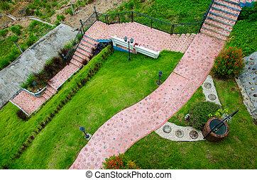 Top view of pathway in garden