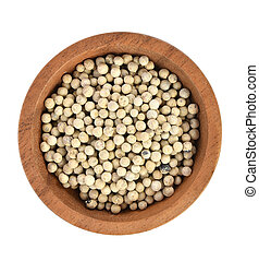Top view of pepper in wooden bowl on white background