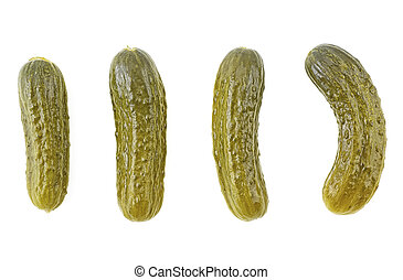 Top view of pickled cucumbers isolated on a white background