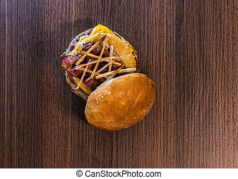 Top view of pineapple-bacon hamburger capture one
