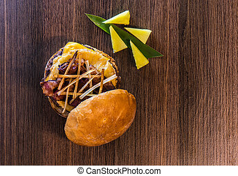 Top view of pineapple-bacon hamburger capture two