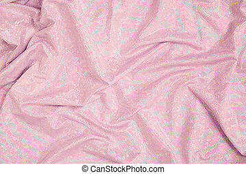 Top view of pink fabric retro glamour background. Textured