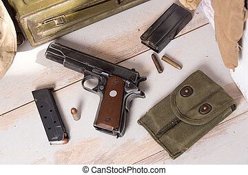 top view of Pistol semi-automatic .45 caliber with magazine...