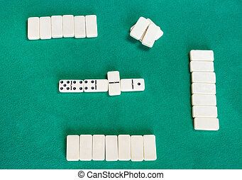 top view of playfield of dominoes with white tiles - top ...