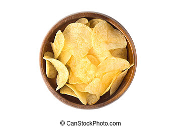 Top view of potato chips in wooden bowl isolated on white background