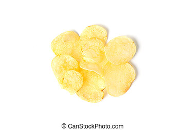 Top view of potato chips isolated on white background