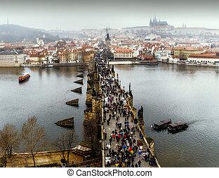 View of Prague, Charles bridge, Vltava river