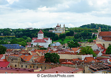 Top view of Prechistenskiy Cathedral in Old Town, Vilnius, Lithuania