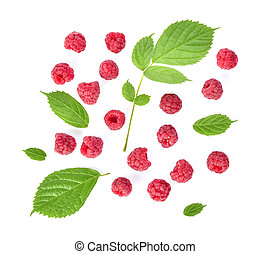 Top view of Raspberries isolated on white background