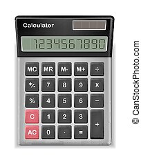 top view of real calculator on a white background