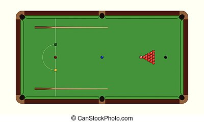 Top view of realistic snooker table with balls and cue isolated on a white background, vector illustration