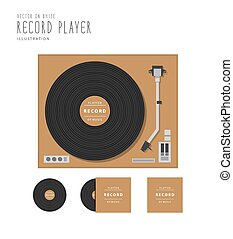 Top view of record player and platter action with cover flat...