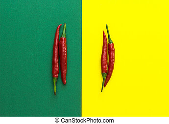 top view of red chili pepper on yellow-green background