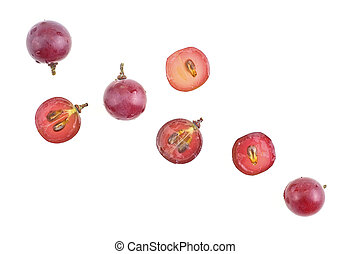 Top view of red grapes isolated on a white background