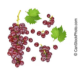 Top view of red grapes isolated on white background