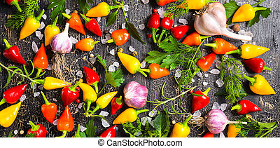 top view of ripe yellow, red hot chili peppers, sea salt, different greenery, black peppers and garlic on cracks black background, panorama