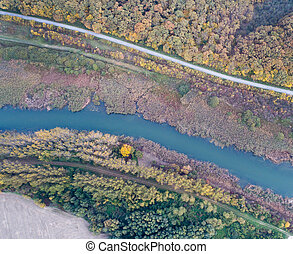 Top view of river and nature in autumn
