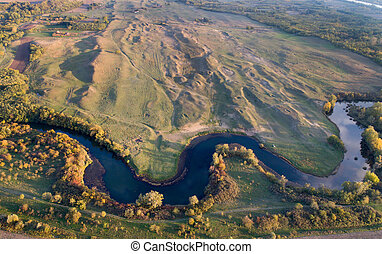 Top view of river and nature in autumn - Aerial image of...