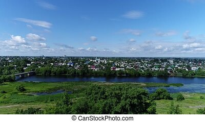 Top view of river Matyra and Gruazy town in Russia