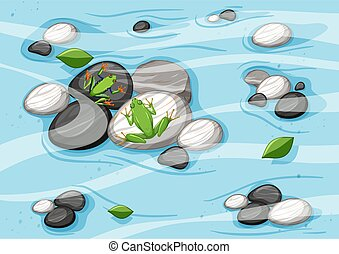 Top view of river scene with frogs