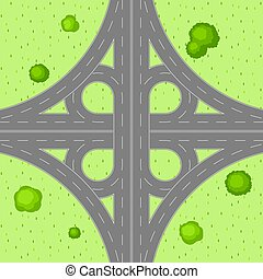 Top view of road junction. Scene with highway and trees in...