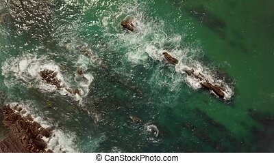 Top view of rocks in water