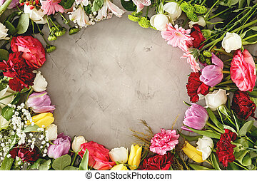 Top view of romantic flowers